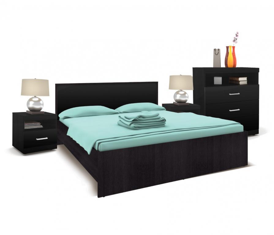 Купить Марсель Спальня (кровать+2тумбы+комод) Дуб Феррара/Черный Глянец в интернет магазине мебели СТОЛПЛИТ