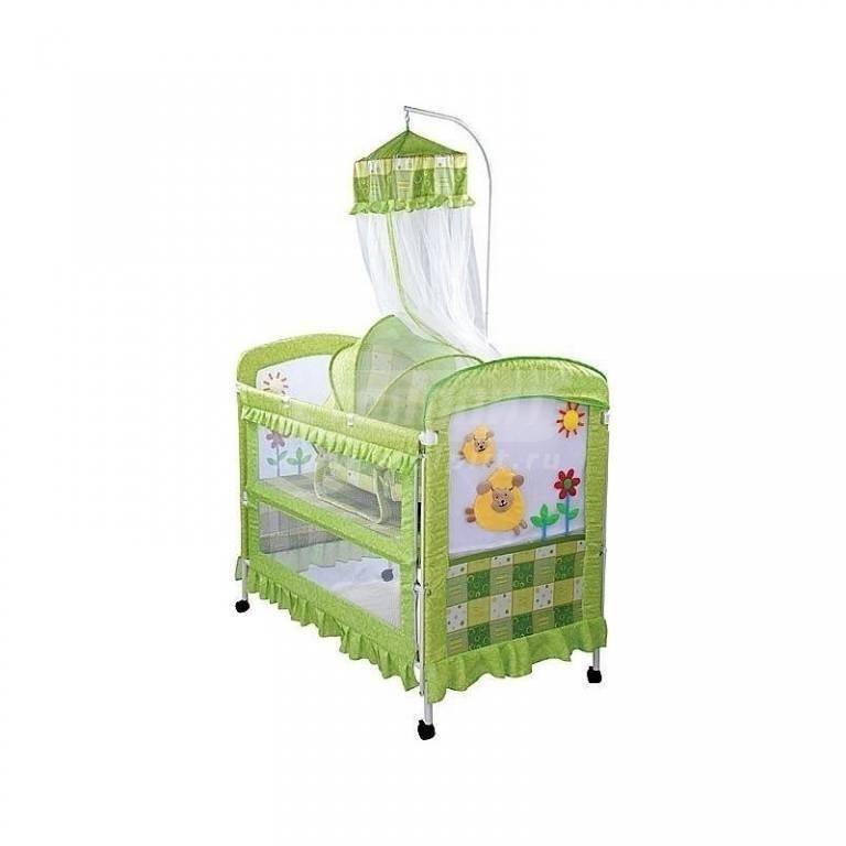 Купить Кроватка детская металлич. арт.BC-368, (358), (зелен+овечки) в интернет магазине мебели СТОЛПЛИТ