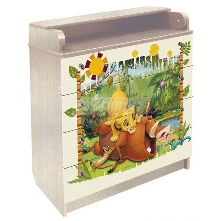 Купить Комод пеленальный Симба и Нала сосна ДП80/4-47 в интернет магазине мебели СТОЛПЛИТ