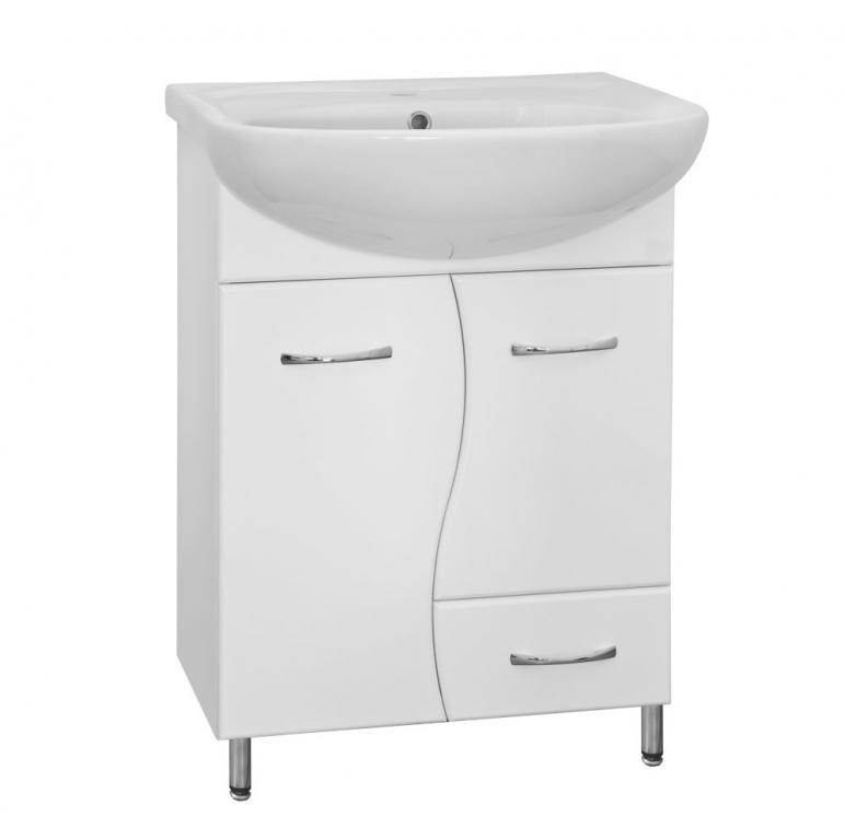 Купить Тумба с раковиной напольная Классик 60 (Волна) с ящиком белая в интернет магазине мебели СТОЛПЛИТ