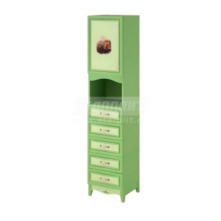 Купить Шкаф узкий 1-дверный с 5-ю ящиками и 1-й полкой в интернет магазине мебели СТОЛПЛИТ