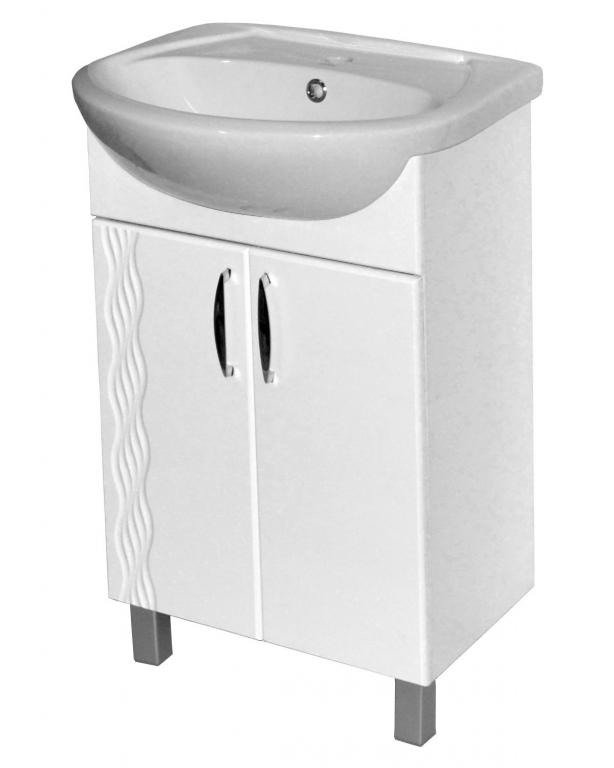 Купить Тумба в ванную напольная Линия 55 белая с раковиной Эрика в интернет магазине мебели СТОЛПЛИТ