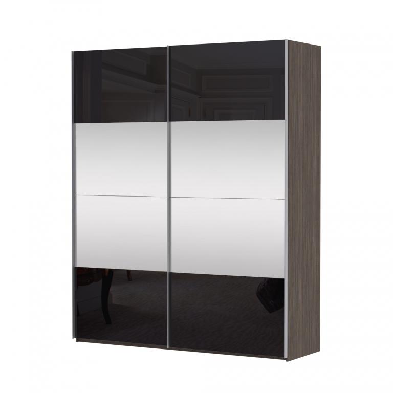 Купить Шкаф Эста дуо Комби стекло черное+зеркало 2200 х 1800 х 580 в интернет магазине мебели СТОЛПЛИТ