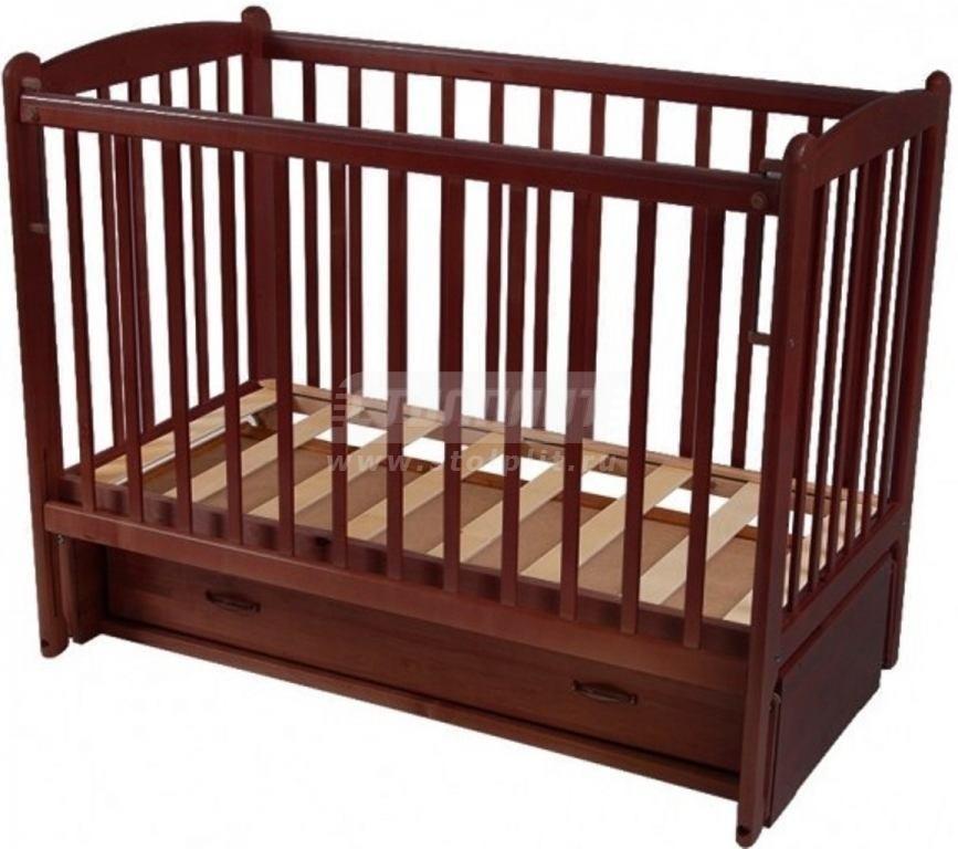 Купить Кровать детская СМ Кроха-2 маятник прод ящик автосп накл ПВХ  орех с оттенением 10 в интернет магазине мебели СТОЛПЛИТ