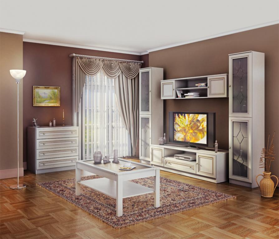 Дизайн белой стенки в гостиную