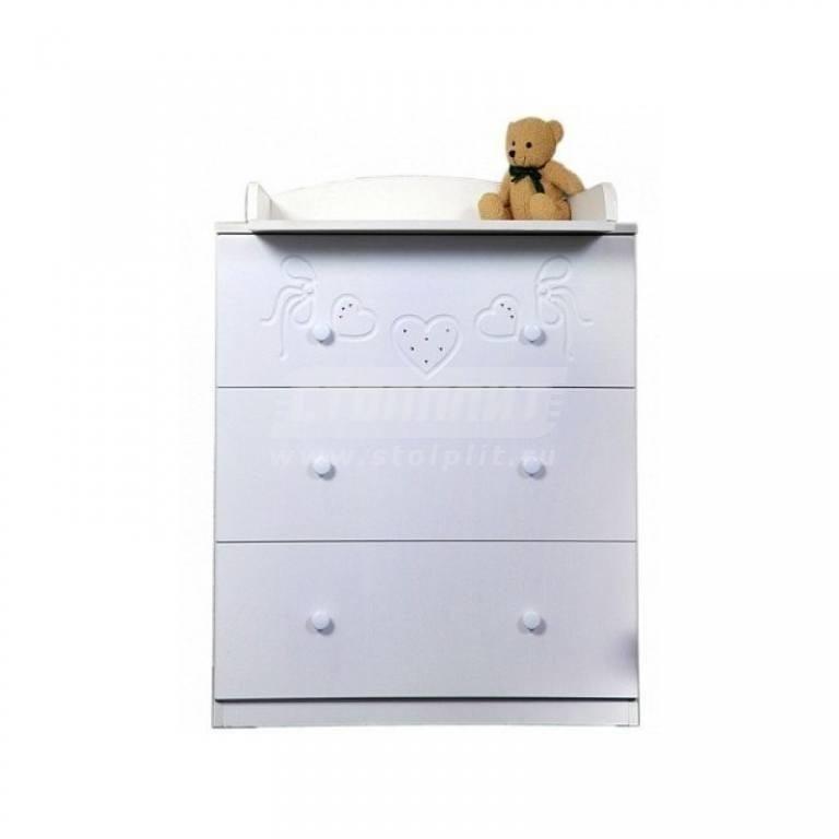 Купить Комод пеленальный Бантики белый в интернет магазине мебели СТОЛПЛИТ
