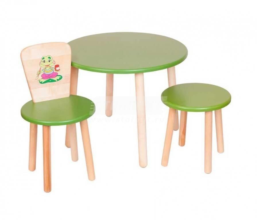 Купить Набор №2 Круглый столик со стульчиком и табуреткой в интернет магазине мебели СТОЛПЛИТ