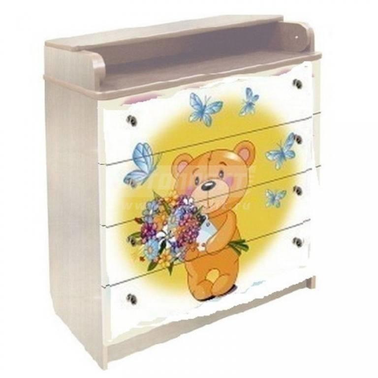 Купить Комод пеленальный Медвежонок желтый сосна 80/4-52 в интернет магазине мебели СТОЛПЛИТ