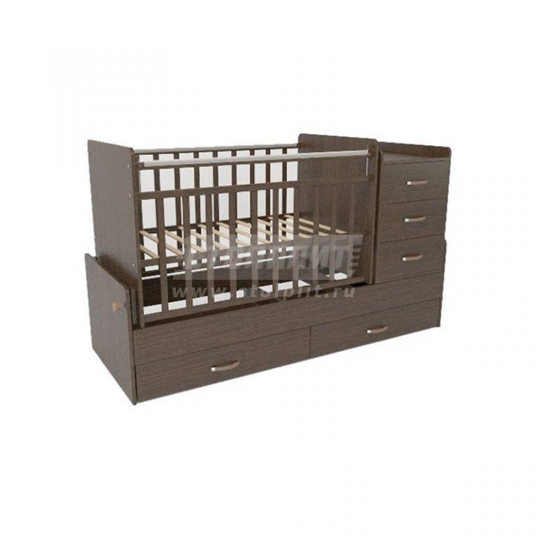 Купить СКВ-5 Кровать-трансформер  маятник,2 ящ,комод 3ящ с пеленал, накладка ПВХ, венге 544038 в интернет магазине мебели СТОЛПЛИТ