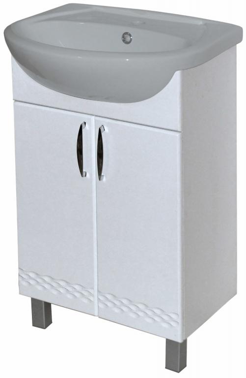 Купить Тумба напольная в ванную Атланта 60 белый с раковиной Эрика в интернет магазине мебели СТОЛПЛИТ