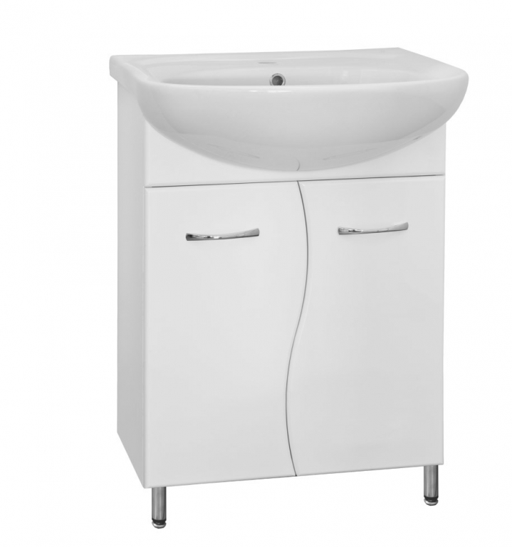Купить Тумба в ванную напольная Классик 55 (Волна) белая с раковиной Эрика в комплекте в интернет магазине мебели СТОЛПЛИТ