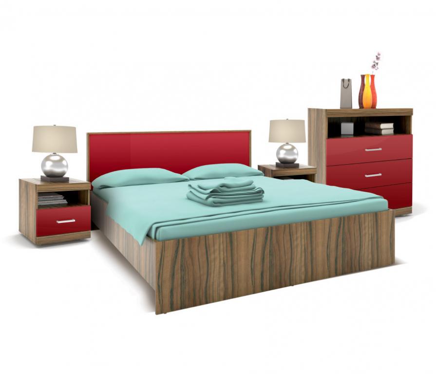 Купить Марсель Спальня (кровать+2тумбы+комод) Ночь Марино/Бордо Глянец в интернет магазине мебели СТОЛПЛИТ